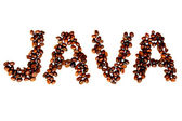 Coffee Beans Spell Out Java on Pure White Background — Stock Photo