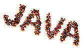 Coffee Beans Spell Out Java on Pure White Background 2 — Photo