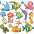 Sea Animals Collection — Stock Vector