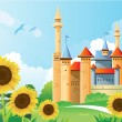 Stock Vector: Summer Castle Background