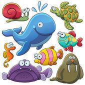 海の動物コレクション — ストックベクタ