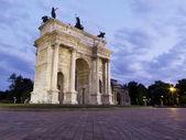 Arco Della Pace at dusk, Milan, Italy. — Stock Photo