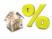 Euro House Shape Percent — Stock Photo