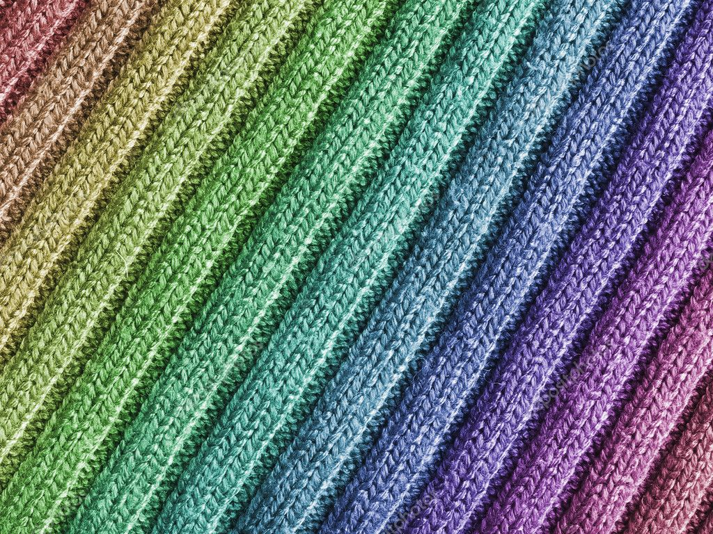 Close-up view of wool fabric pattern with rainbow coulors. — Stock Photo #11856242