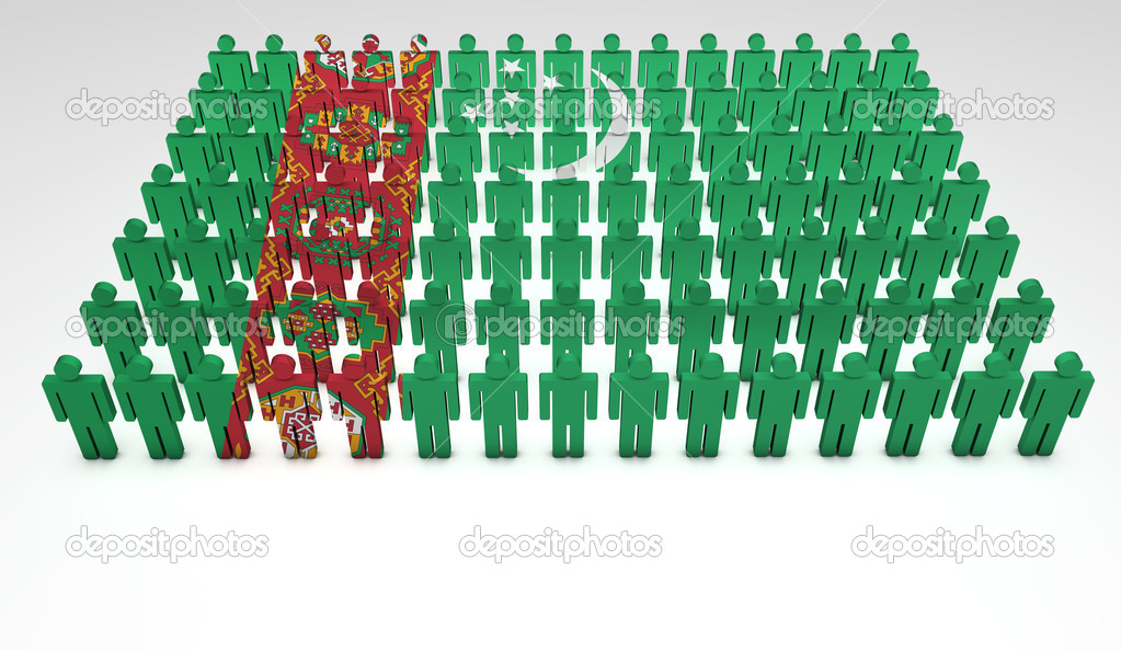Parade of 3d forming a top view of Turkmenistan flag. With copyspace. — Stock Photo #12020744