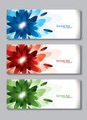 Conjunto de tres banderas. cabeceras de vector abstracto. — Vector de stock