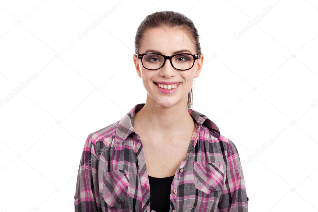 Portrait of beautiful teen girl smiling, with wayfarers, isolated on white background — 图库照片 #11132942