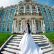 Stock Photo: Luxury bride near palace