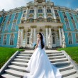 Luxury bride near palace — Stock Photo #11291628