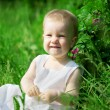Little pretty girl on a green lawn — Stock Photo #11291728