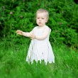 Little pretty girl on a green lawn — Stock Photo