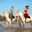 Stock Photo: Young couple in the sea on horseback
