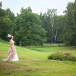 Princess in an vintage dress in nature - Stock Photo
