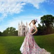 Princess in an vintage dress before the magic castle — Stok fotoğraf
