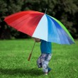Little boy with a big rainbow umbrella — Stock fotografie