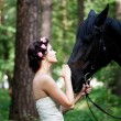 Woman and horse — Foto Stock