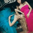 Two luxury fashion woman — Foto Stock