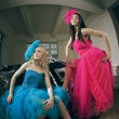 Two luxury fashion woman - Stock Photo