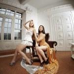 Two luxury fashion woman — Stock Photo