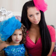 Ñute little girl, a child in a dress with mother — Stockfoto #11292323