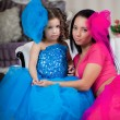 Ñute little girl, a child in a dress with mother — Foto Stock #11292362