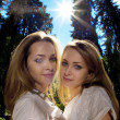 Twins in the forest — Stockfoto