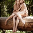 Beautiful twins in the forest - Stock Photo