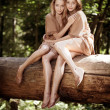Beautiful twins in the forest — Stock Photo #11292417