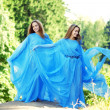 Womans, twins in the forest — Stock Photo