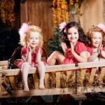 Three little girls, cute kids — Stock Photo