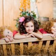 Three little girls, cute kids — Stock Photo