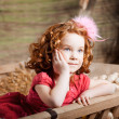 Beautiful  child on the farm — Foto Stock