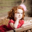 Beautiful child on the farm — Stock Photo