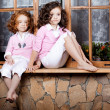Two little girls, cute kids — Stok fotoğraf