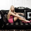 Woman in a fashionable luxury interior — ストック写真