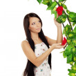 Ñute girl near the arch entwined by roses — Stockfoto #11293085