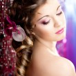 Woman with a wonderful luxury makeup and hairstyle - Stock Photo