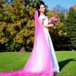 novia de belleza con un velo largo púrpura — Foto de Stock   #11293483
