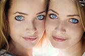 Beautiful women with blue eyes — Stock Photo
