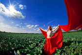 Beautiful girl in a field with red fabric — Stock Photo