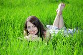 Woman with big unusual eyes — Stock Photo