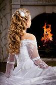 Lüks gelin düğün saç modeli ile — Stok fotoğraf