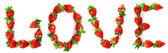 """Palavra """"amor"""", pintado de um morango — Fotografia Stock"""
