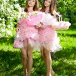 Twins in pink doll style — Stock Photo #11935591