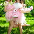 Twins in pink doll style — Stock Photo #11935607