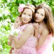 Twin women with a dragonfly — Stock Photo