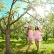 Twins in pink doll style — Stock fotografie #11935930