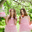 Twins in pink doll style — ストック写真