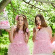 Twins in pink doll style - Stock Photo