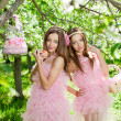 Twins in pink doll style — Stock Photo #11935996